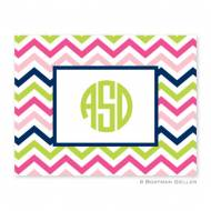 Chevron Pink, Navy & Lime Foldover Notes