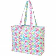 Monogrammed Zip Top Peace Sign Tote