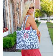 Monogrammed Zip Top Grey Floral Tote