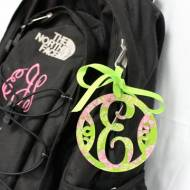 Monogrammed Acrylic Lilly Luggage Tag With Single Initial