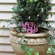 Triple Initial Acrylic Monogram Stake For Planter