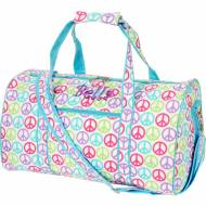 Discontinued - Monogrammed Small Lined Duffle Bag With Peace Signs