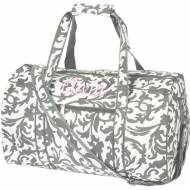 Discontinued - Monogrammed Small Lined Duffle Bag In Grey Floral