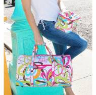 Monogrammed Large Lined Multi Color Swirls Duffel Bag