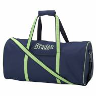 Discontinued - Monogrammed Large Lined Duffel Bag In Navy And Lime Green