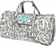 Monogrammed Large Lined Duffel Bag In Grey Floral