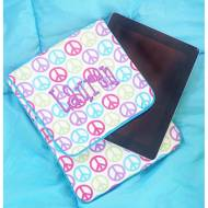 Monogrammed Padded Peace Signs Tablet Case