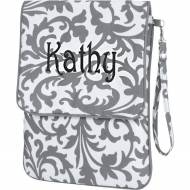 Monogrammed Padded Grey Floral Tablet Case