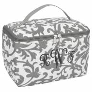 Monogrammed Large Grey Floral Cosmetic Bag