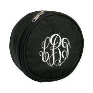 Monogrammed Round Black Jewelry Case