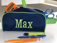 Discontinued - Monogrammed Navy And  Lime Green Pencil Or Toiletry Bag