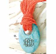 Monogrammed Aqua Stone Pendant On Coral Bead Necklace