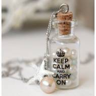 Keep Calm Message Bottle Necklace With Pearls