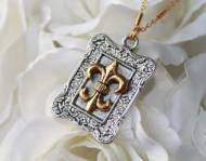 Antique Gold & Silver Fleur De Lis Necklace