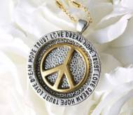 Gold & Antique Silver Peace Sign Necklace