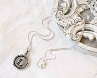 Stamped Monogram Necklace In Round Beaded Bezel