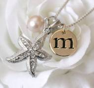 Crystal Starfish Necklace With Gold Initial & Pearl
