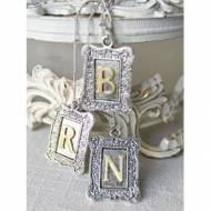 Long Antique Gold And Silver Framed Monogram Necklace