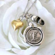 Wax Seal Monogram, Baby Shoe & Gold Heart Necklace
