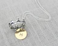 Petite Gold Initial Necklace With A Little Silver Crown