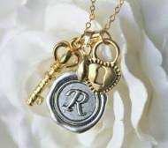 Wax-seal Monogram, Gold Key & Heart Charm Necklace