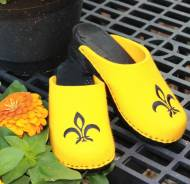 Bright Yellow Wool Clogs With A Black Fluer De Les