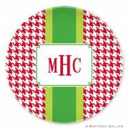 Alex Houndstooth Red Melamine Plate