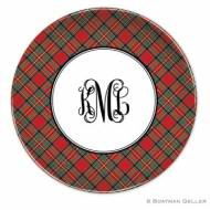 Plaid Red Melamine Plate