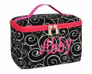 Discontinued - Monogrammed Mini Cosmetic Bag With Black Swirls