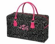Discontinued - Monogrammed Black Swirl Weekender Travel Bag