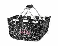 Monogrammed Mini Market Tote In Black Swirl