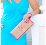 Straw Clutch With Coral Monogram And Trim