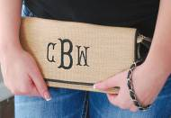 Straw Clutch With Black Monogram And Trim