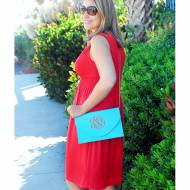 Monogrammed Aqua Convertible Envelope Purse