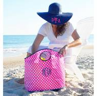 Monogrammed Open Handle Pink And White Dot Tote