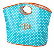 Monogrammed Open Handle Aqua And White Dot Tote