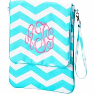 Monogrammed Padded Aqua Chevron Tablet Case