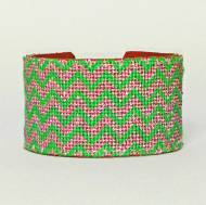 Pink And Green Chevron Needlepoint Cuff