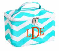 Monogrammed Large Aqua Chevron Cosmetic Bag