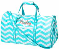 Monogrammed Large Lined Aqua Chevron Duffle Bag