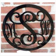 Acrylic Three Initial Wall Monogram With Border