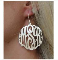 Monogrammed Interlocking Script Earrings On A French Wire In Four Different Sizes
