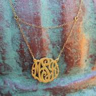 Monogrammed Necklace With Double Chain From The Pink Monogram