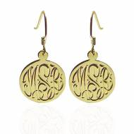 Hand Engraved Monogrammed Earrings On French Wire