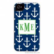 Anchors White On Navy Cell Phone Case