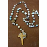 Brass Coin And Cross Opal Beaded Necklace