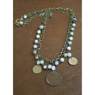 Two Tiered Coin And Opal Necklace
