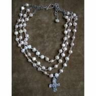 Triple Strand Freshwater Pearls And Silver Cross Pendant