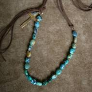 Turquoise And Leather Necklace With Brass Cross And Coin Pendant