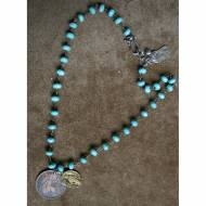 Turquoise Necklace With Antique Coin Pendants